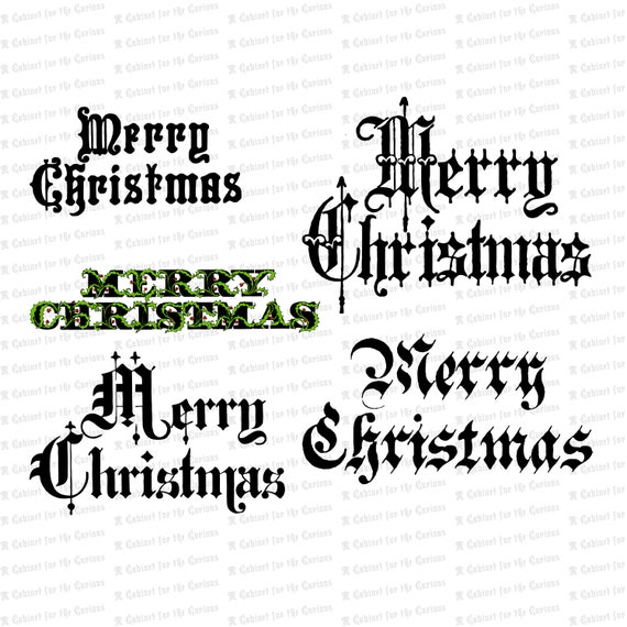 Christmas Words.Vintage Merry Christmas Words Phrases Victorian Holiday Ornamental Calligraphy Lettering Vector Clipart Instant Download Svg Png Jpg