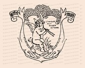 Vintage Edwardian Musical Cupid with Flute under Tree  | Valentine's Day Vector Clipart | Romantic l'amour fait passer le temps SVG PNG JPG