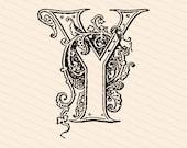 Ornamental Penwork Initial Letter Y Vector Clipart    Vintage Edwardian Capital Letter Y, Fancy Antique Monogram SVG PNG JPG