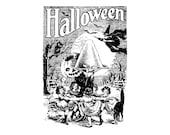 1920s Weird Halloween Scene Vector Clipart   Children Bats Owl Witch Black Cat Sweets Jack-o-Lantern Spooky Bizarre Download SVG PNG JPG