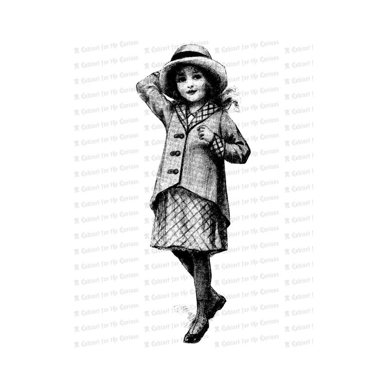 Vintage Young Girl Holding Hat on in a Breeze  Edwardian image 0