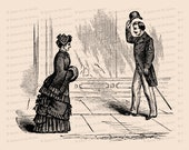 Victorian Gentleman Tipping Hat to Lady | Vintage Antique Man and Woman Meeting | Greeting Vector Clip Art SVG PNG JPG