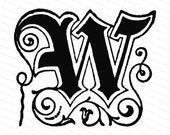 Ornamental Penwork Initial Letter W Vector Clipart    Vintage Victorian Capital Letter W, Fancy Antique Monogram SVG PNG JPG