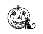 Digital Vintage 1920s Halloween Cute Black Cat with Jackolantern Vector Clipart   Jack-o-Lantern Instant Download SVG PNG JPG