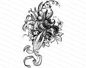 Ornamental Penwork Initial Letter S Vector Clipart    Vintage Victorian Capital Letter S, Antique Floral Monogram with Bird  SVG PNG JPG