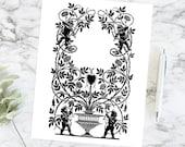 Cupids and Roses Romantic Border | Vintage Edwardian Valentine's Day Frame Wedding Vector Clipart | Engagement SVG PNG JPG