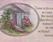 Antique Postcard DOWNLOAD | Edwardian Invitation to Visit Poem with House, Flowers | Vintage floral pink blue png jpg digital download