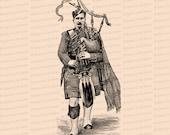Digital Vintage Victorian Piper   Traditional Scottish Dress   Antique Bagpipes Clip Art SVG PNG JPG