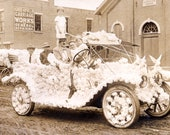 Antique Photo DOWNLOAD | Man and Woman with Adorable Children in Flower Covered Vintage Parade Car Greenfield Ohio 1912 Sepia png jpg