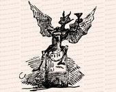 Georgian Era Bottle Imp Raising Glass Vintage Vector Clip Art   Antique Devil, Demon, Alcohol, Booze, Gin   Instant Download SVG PNG JPG