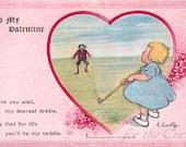 Antique Postcard DOWNLOAD | Vintage Edwardian Valentine Golf Theme with Poem, caddie golfing png jpg digital download