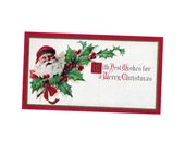 Antique Christmas Tag DOWNLOAD | Vintage 1900s Holiday Tag Best Wishes Merry Christmas Santa Claus Holly png jpg digital