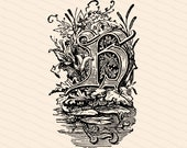 Ornamental Initial Letter H with Water Lilies, Cattails, Pond Vector Clipart    Vintage Victorian Capital Letter H, Antique Monogram SVG PNG