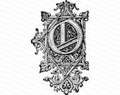 Ornamental Penwork Initial Letter O Vector Clipart    Vintage Victorian Capital Letter O, Fancy Antique Monogram SVG PNG JPG
