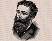 Digital Vintage Bearded Victorian Man   Vector Clip Art Gentleman with Beard and Mustache Instant Download SVG PNG JPG