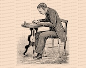 Digital Vintage Seated Victorian Man Writing Letter at Desk   Vector Clipart Instant Download SVG PNG JPG