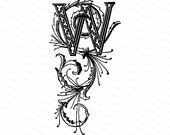 Ornamental Penwork Initial Letter W Vector Clipart    Vintage Edwardian Capital Letter W, Fancy Antique Monogram SVG PNG JPG