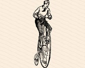Digital Vintage Victorian Man on Penny-Farthing Bicycle    Antique Man on High Wheel Bike   Big Wheel Cycling Vector Clipart SVG PNG JPG
