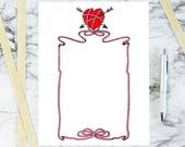 Vintage Heart, Arrows, & Ribbon Border | Antique Edwardian Valentine's Day Frame | Vector Romantic Clip Art SVG PNG JPG Color