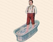 Edwardian Gentleman Taking a Foot Bath   Vintage Antique Water Cure   Man Standing in Tub Vector Color Clipart Instant Download PNG JPG SVG
