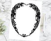 Vintage Heart Shaped Intricate Black Border, Flowers, Hearts, & Birds | Valentine's Day Ornate Frame Vector Fancy Clip Art SVG PNG JPG