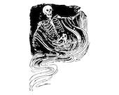Digital Vintage Edwardian Spooky Skeleton   Halloween Vector Clipart Instant Download SVG PNG JPG