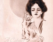 Antique Postcard DOWNLOAD | Edwardian Woman with Cat | Vintage Lady with Pet monochrome browns png jpg digital download
