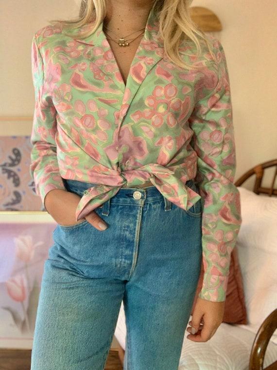 Vintage 70s Silk Blouse   Vintage Women's Button U