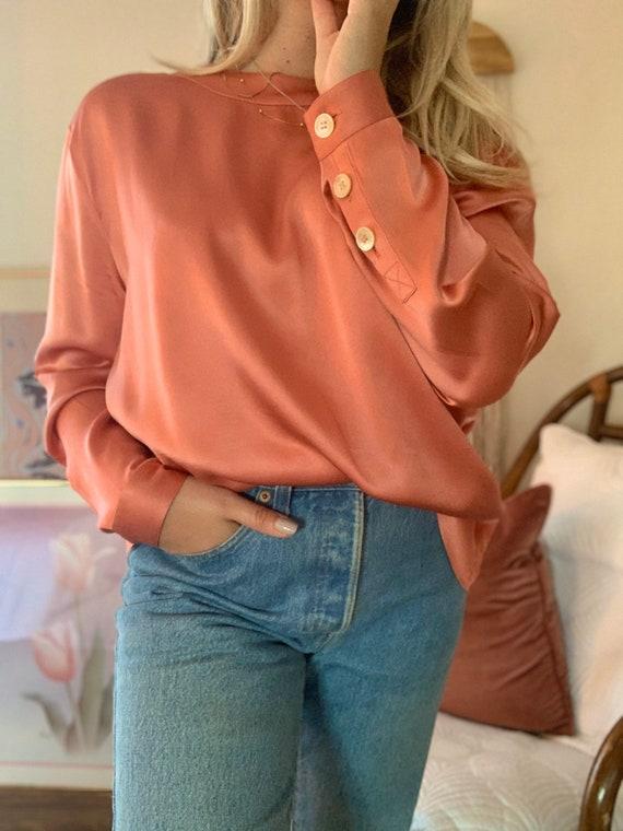Vintage CELINE Silk Blouse   Button Up Silk Blouse