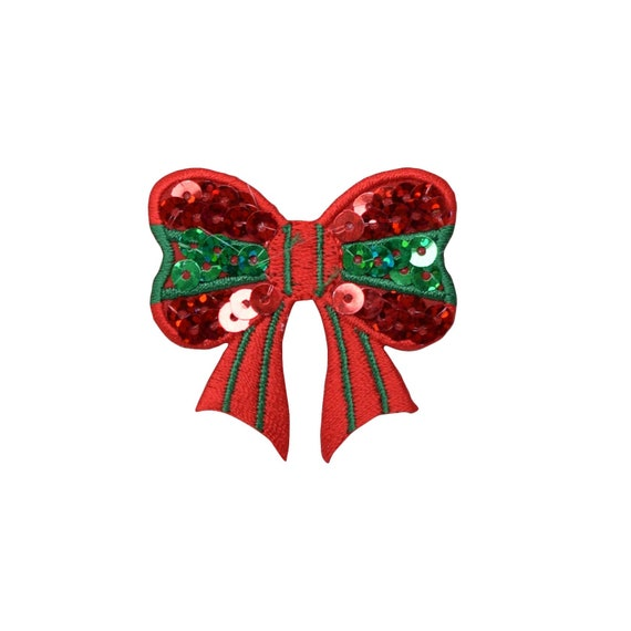 Sequin Christmas Gift Present Applique Patch Iron on Gold Bow
