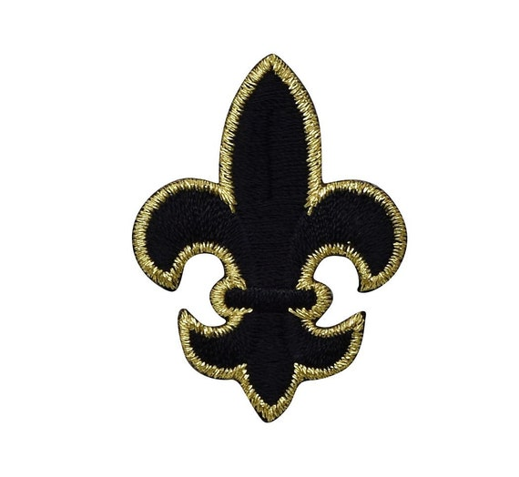 Mardi Gras Navy Blue Embroidered Iron On Patch Fleur De Lis