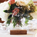 Acrylic Table Numbers with Wood Stand | 5x7""