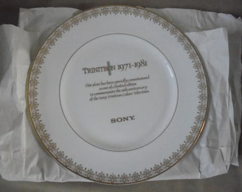 5ff12480bd Limited Edition - Royal Doulton - Sony Trinitron Anniversary Plate  1971-1981. in gold lace!!!