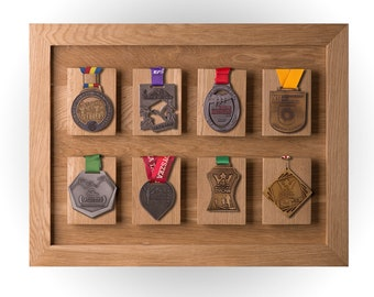 Wood Medal Display For Eight Medals