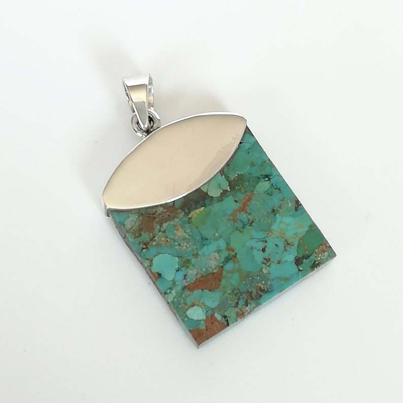 PD313 Turquoise Necklace Hubei Turquoise Chunky Turquoise Tibetan 925 Silver Pendant Necklace Nepalese Necklace