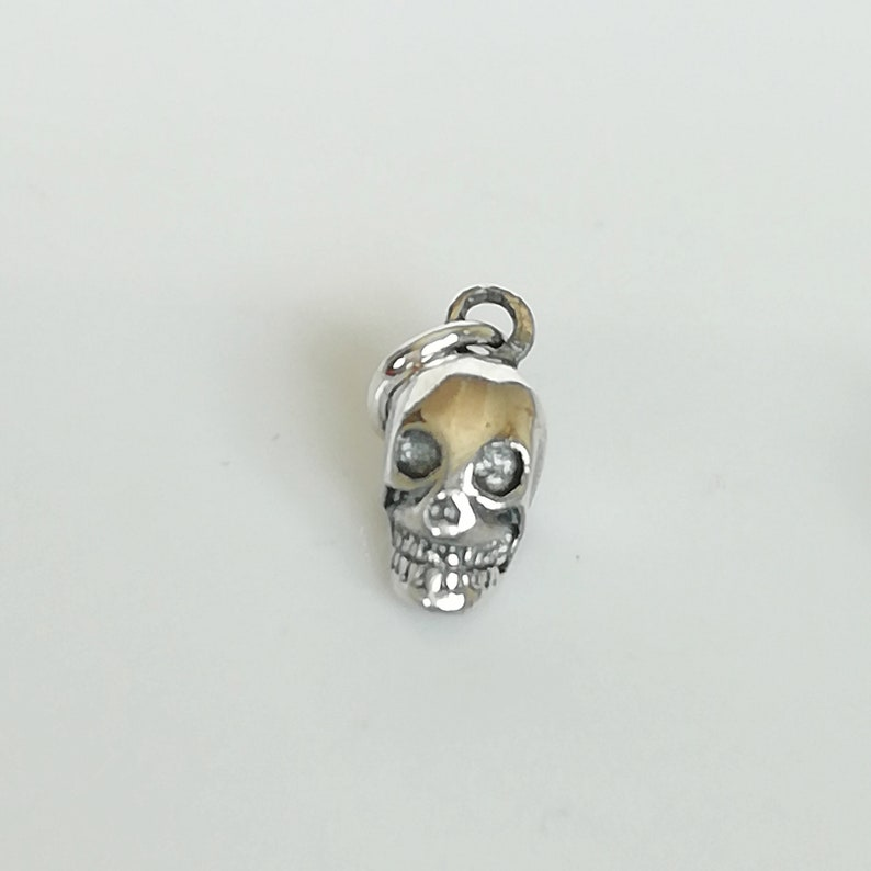 Hippie Jewelry Sterling Silver PD359 Silver Skull Pendant Skull Necklace Silver Necklace Silver Charm Boho Necklace
