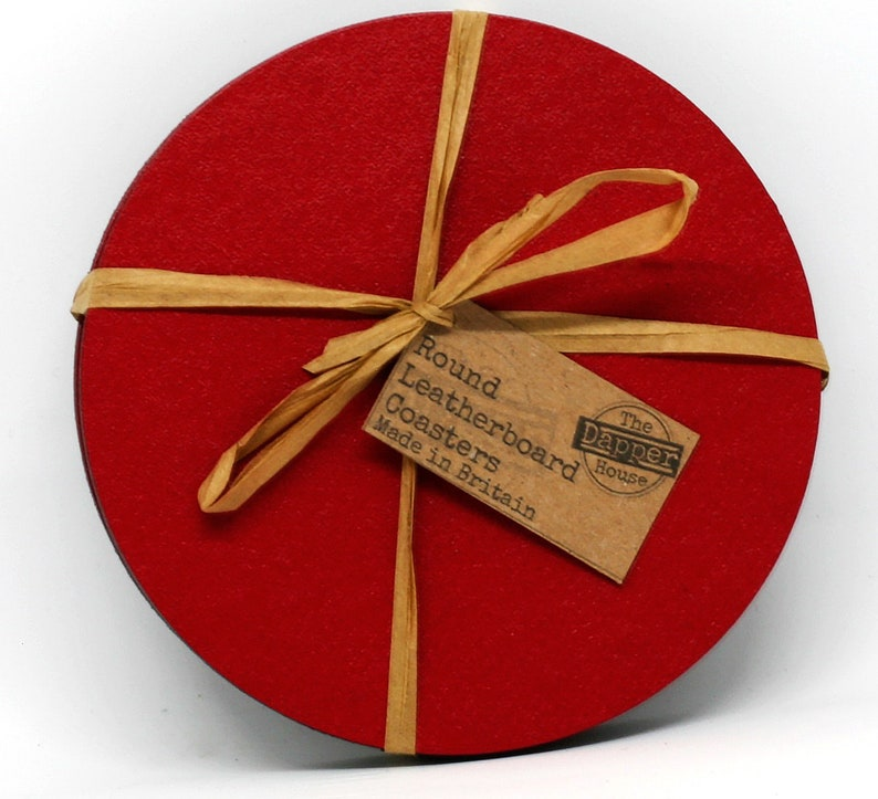 Set of 6 Elementry Red Leatherboard Round Coasters Made in UK