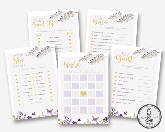 The Ultimate 5 in 1 Bridal Shower Games Instant A4 and A5
