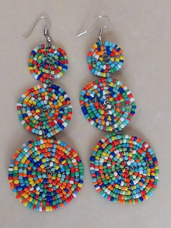 Maasai beaded earrings - African jewelry earrings - Earrings from Africa - Multicolored earrings- three disk