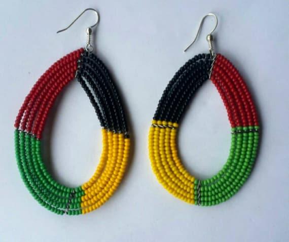 Rasta beaded earrings - maasai earrings - African bead earrings - Earrings from Africa - handmade earrings