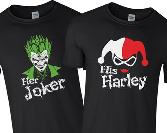 1c5262c9 Couples her joker & his harley batman suicide squad fan tee valentines gift Black  T shirt All Sizes