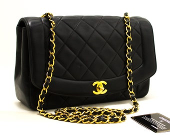 38a377bc68b857 CHANEL Diana Flap Chain Shoulder Bag Crossbody Black Lambskin