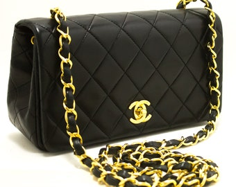 95e6d40fef15 CHANEL Small Chain Shoulder Bag Crossbody Black Quilted Flap Lamb