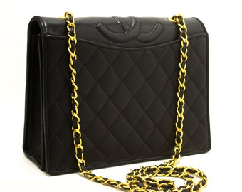 c46ab12422b804 CHANEL Classic Chain Shoulder Bag Black Quilted Full Flap Lambskin