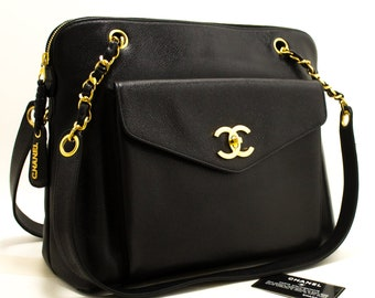 522a0fa7e2d5ec CHANEL Caviar Large Chain Shoulder Bag Black Leather Gold Hardware