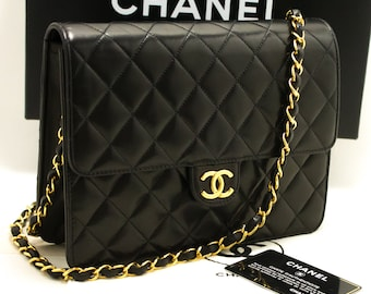 c70328314f62 CHANEL Small Chain Shoulder Bag Clutch Black Quilted Flap Lambskin