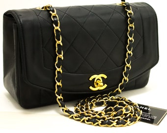 c6c4a905a1f4 CHANEL Diana Flap Chain Shoulder Bag Crossbody Black Quilted Lamb