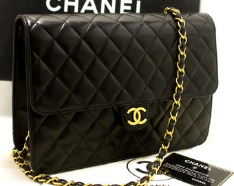 e8a049014a5d41 CHANEL Chain Shoulder Bag Clutch Black Quilted Flap Lambskin