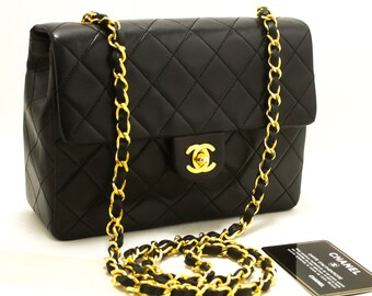 b9164f21f423 CHANEL Mini Square Small Chain Shoulder Bag Crossbody Black Purse