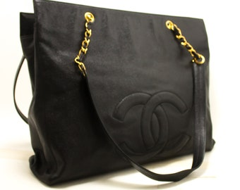 af89c3386b23 CHANEL Caviar Jumbo Chain Shoulder Bag Black Leather Large Big